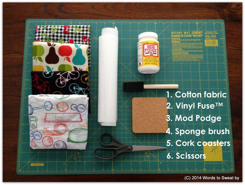 DIY Fitness Motivation Fabric Drink Coaster Supplies