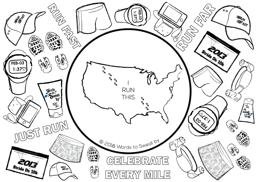 fitness coloring pages. running coloring page Awesome Coloring Page For Avid Runners  GlobalRunningDay Words